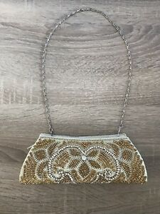 Gold and Cream Crystal Diamond Diamanté Hand Bag Evening Bag Clutch Brand New