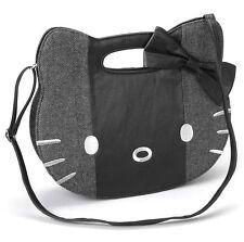 HELLO KITTY Blk PatchWork Tweed Vegan Leather Bow Top BAG CAT FAcE Purse HANDBAG