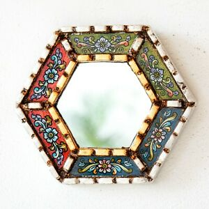 Small Multicolor Mirrors Wall art Decorative   Accent Hexagon Mirrors for Wall