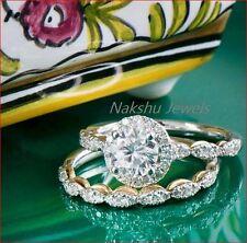 Engagement Ring Set 925 Sterling Silver 2Ct White Moissanite Round Halo Bridal