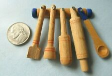 Vintage 1970s DOLL HOUSE Wooden COUNTRY KITCHEN TOOL SET Rolling Pin Miniature