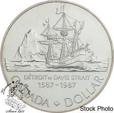 Canada 1987 $1 John Davis BU Silver Dollar Coin - in Capsule Only