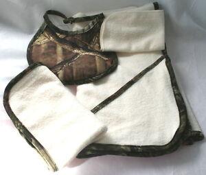 Mossy Oak Camo Camouflage 4 Pc Baby Bath Towel Gift Set - Burp Rag Bib