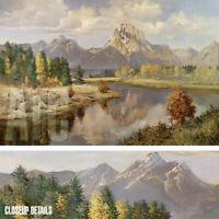 "36W""x24H"" GRAND TETONS by VERNON KERR - LAKESIDE STREAM MOUNTAIN PEAKS CANVAS"