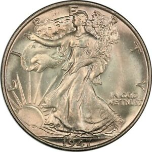 1947 Walking Liberty Half Dollar - ANACS MS65 - Nice Color, Old White Holder!