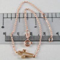 Bracelet or Rose 750 18K, Longueur 18 cm avec Croix Vis- , Fabriqué en Italie
