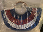 INC Handbag/Straw Tote with wood handles Red, White and Blue Fourth of July
