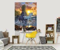 3D Einhorn Sonnenuntergang C594 Wandaufkleber Fototapeten Tapete Vincent Amy
