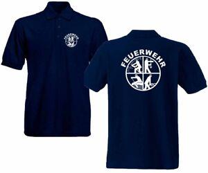 Feuerwehr Poloshirt marineblau versch.Druckfarben Signet Feuerwehrlogo Logo FS2