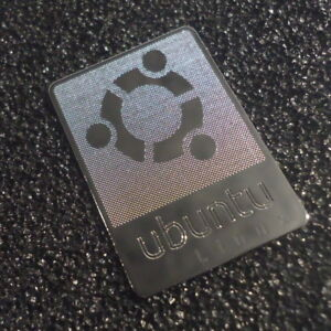 UBUNTU Metal Chrome Label / Aufkleber / Sticker / Badge / Logo 19 x 28mm [184b]