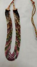 145 CRT NATURAL MULTI TOURMALINE  FACETED GEMSTONE BEADS 5 STRANDS IN 1 NECKLESS