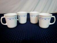 "Set of 4 Corning Coffee Mugs. ""Morning Blue"". Perfect."