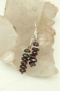 Natural Gemstone Polished RED GARNET Chip Bead Dangle DROP EARRINGS Hook
