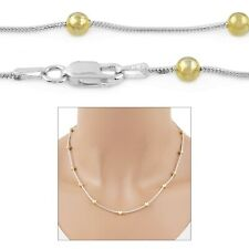 925 Sterling Silver Gold Bead Round Snake Chain Necklace or Bracelet