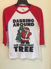 Bella Canvas White & Red Dabbing Christmas, Baseball Style T-Shirt, Size Xs