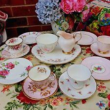 Vintage Tea Set For 4 Delicate Pink Mismatched China 15 Pc Paragon Royal Albert