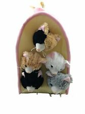Plush Cat House with Cats - Five Cats in Kitten House Carrying Case