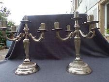 paire de chandelier 19eme en bronze argenté  4 bras de lumière