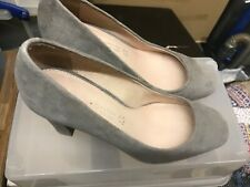 Next grey leather suede heeled court shoe 4
