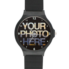 Personalised Photo Watch Black Plastic Strap Picture Desinged For Custom Gifts