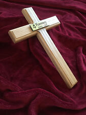 12'' Wooden Pet Memorial Cross Solid Oak Grave Marker & Personalised Plaque