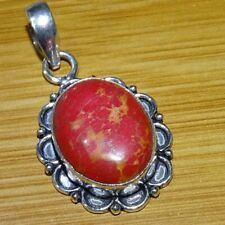925 Sterling Silver Plated Red Copper Turquoise Stone Pendant Jewelry CH82