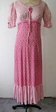 "Vintage Maxi Dress 60's Lightweight Floral INDIA Cotton Ruffle Hem 32"" Bust"