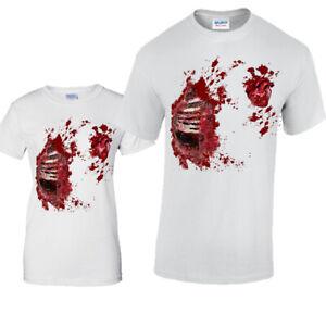 Halloween Costume Ribs T-Shirt Blood Spatter Wound Fancy Dress Zombie