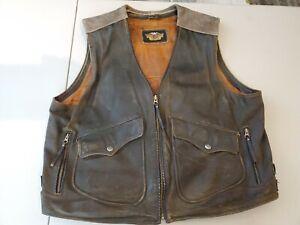 Vintage Harley Davidson BILLINGS Brown Leather Heavy Duty Bikers Vest Jacket XXL