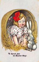 Katharine Gassaway Easter~Girl In Basket Greets Upright Bunny Rabbit~1907 TUCK
