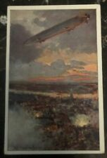 Original Zeppelin In Flight Picture Postcard Mint The German Air Fleet War Scene