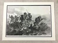 Original Antique Military Print Battle of Rivoli Napoleonic War Sardinian Army