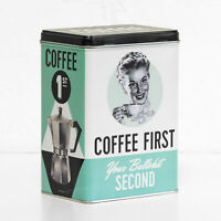 Coffee 1st Bullsh*t 2nd Retro 3 Litre Metal Storage Tin Kitchen Container Gift