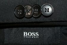 HUGO BOSS Huge4/Genius3 Suit Men's 42R 36x31.5 Super 100's Wool Black Slim Fit