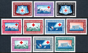 Guatemala B9-B11,CB15-CB21, MvLH. Red Cross. Arms;Battle of Solferino;Earth,1960