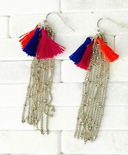 NEW Fun Tassel Fringe Drop Dangle Earrings Pierced Hook Nickel Free US