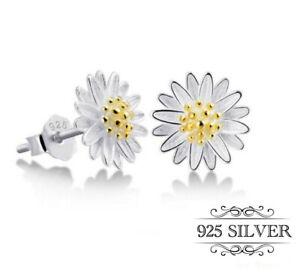 Daisy Earrings Stud Sterling 925 Silver Jewellery Sun Flower Womens Girls Ladies