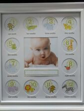 Collage Photo Frame for Baby First Year Keepsake - 12 Months Picture White