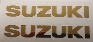 2 x SUZUKI • Motorrad Aufkleber • Sticker • Chrom Gold • Schriftzug