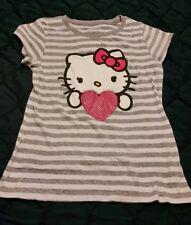 Hello Kitty Girls shirt L 10/12 striped youth Top Tshirt