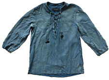 SCOTCH & SODA Womens' Sz 1 (6-8) Indigo Lace-Up Tunic Top