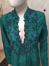 Caftano maglia pinko con decorazioni Tg S verde smeraldo misto seta