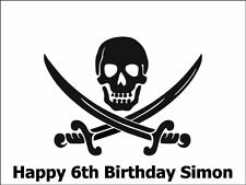A4 PIRATE SCULL BIRTHDAY PARTY CAKE TOPPER PERSONALISED ON EDIBLE RICE PAPER