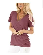 Women's Short Sleeve Deep V-Neck Waffle Cross Wrap Shirt Blouses Side Button