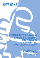 Yamaha YZ 450 F (V) 2006 Owners Service Repair Manual Free Shipping