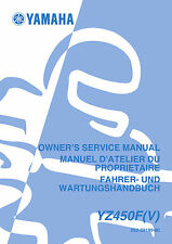 Yamaha YZ 450 F (V) 2006 Owners Service Repair Manual Free Shipping