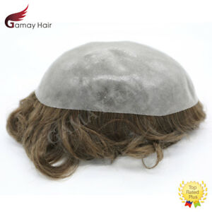 Mens Toupee Full Poly Hairpiece All Skin PU Human Hair Replacement System Wig