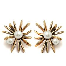 Engagement Wedding Pearl Cubic Zircon Gold Plated Lady Stud Earrings Jewelry