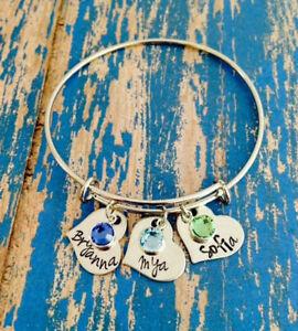 Mother's Day Birthstone Personalized Bangle Bracelet Mom Gift Nana Grandma Mama