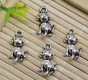 15/40/100pc Retro Crafts Jewelry Making Dog Alloy Charms Pendants DIY 17x11 mm
